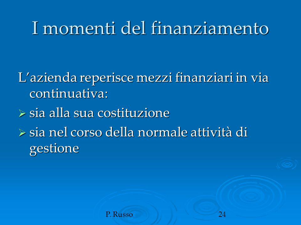 P. Russo24 I momenti del finanziamento L'azienda reperisce mezzi finanziari in via continuativa:  sia alla sua costituzione  sia nel corso della nor