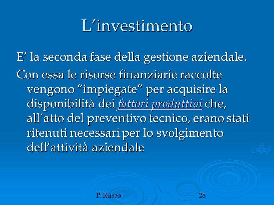 """P. Russo28 L'investimento E' la seconda fase della gestione aziendale. Con essa le risorse finanziarie raccolte vengono """"impiegate"""" per acquisire la d"""