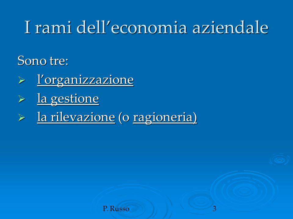 P. Russo3 I rami dell'economia aziendale Sono tre:  l'organizzazione  la gestione  la rilevazione (o ragioneria)
