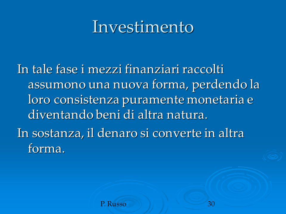 P. Russo30 Investimento In tale fase i mezzi finanziari raccolti assumono una nuova forma, perdendo la loro consistenza puramente monetaria e diventan