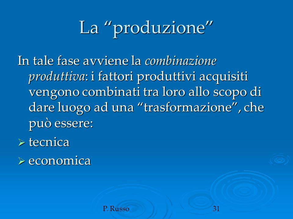 """P. Russo31 La """"produzione"""" In tale fase avviene la combinazione produttiva: i fattori produttivi acquisiti vengono combinati tra loro allo scopo di da"""