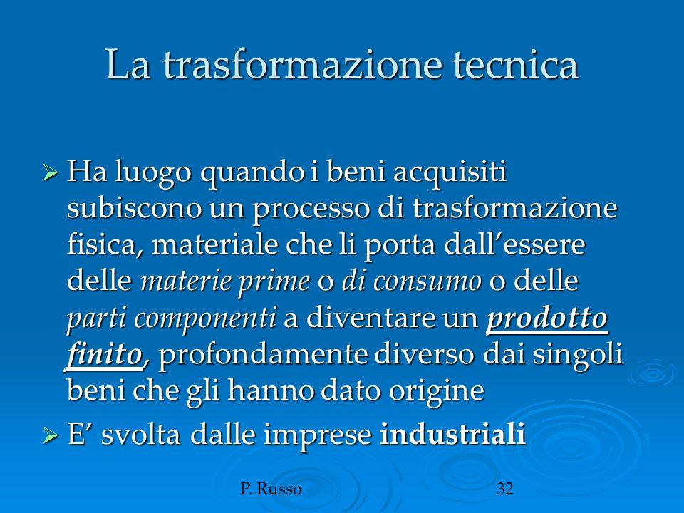 P. Russo32 La trasformazione tecnica  Ha luogo quando i beni acquisiti subiscono un processo di trasformazione fisica, materiale che li porta dall'es