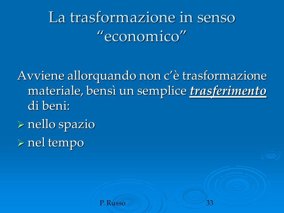 """P. Russo33 La trasformazione in senso """"economico"""" Avviene allorquando non c'è trasformazione materiale, bensì un semplice trasferimento di beni:  nel"""