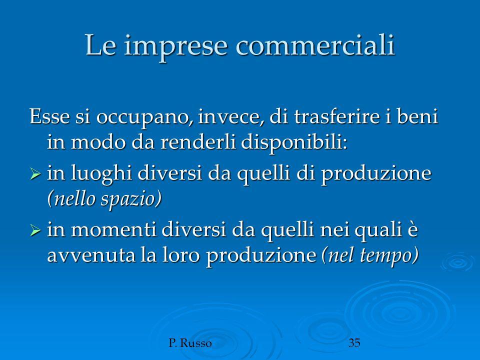 P. Russo35 Le imprese commerciali Esse si occupano, invece, di trasferire i beni in modo da renderli disponibili:  in luoghi diversi da quelli di pro