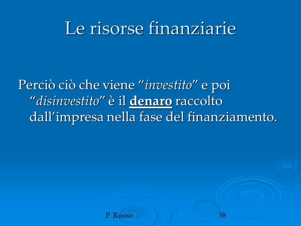 """P. Russo38 Le risorse finanziarie Perciò ciò che viene """"investito"""" e poi """"disinvestito"""" è il denaro raccolto dall'impresa nella fase del finanziamento"""