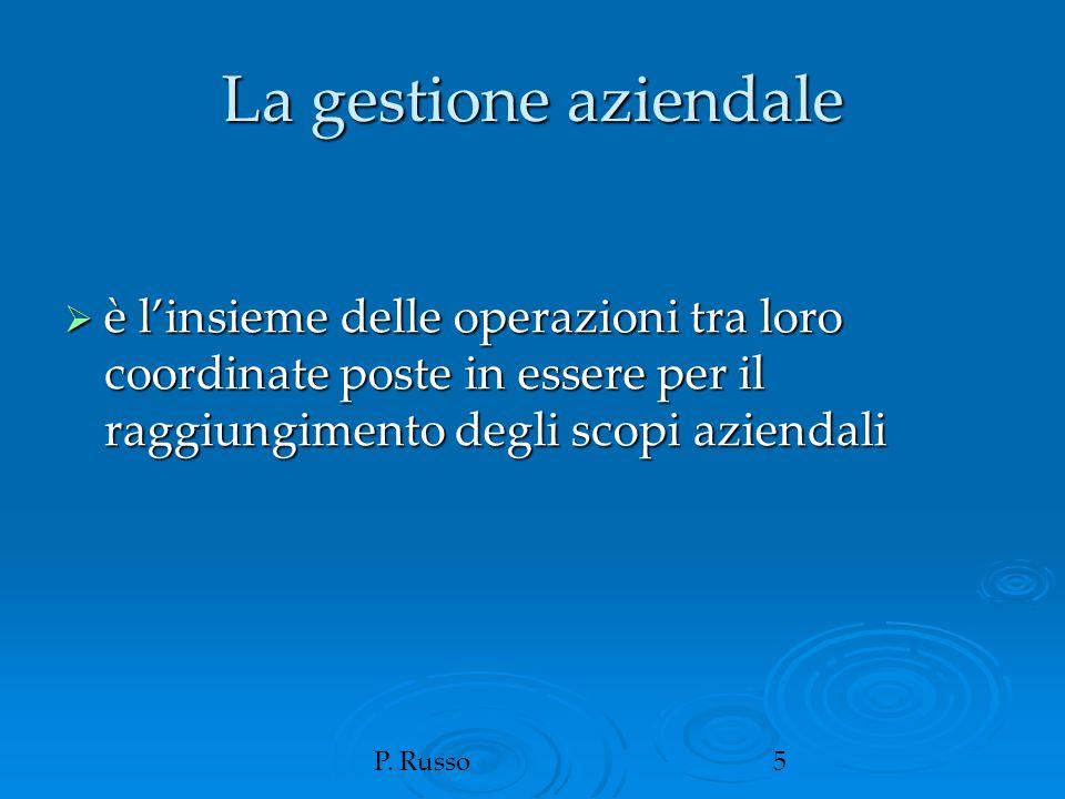 P. Russo5 La gestione aziendale  è l'insieme delle operazioni tra loro coordinate poste in essere per il raggiungimento degli scopi aziendali