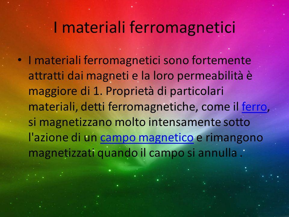 I materiali ferromagnetici I materiali ferromagnetici sono fortemente attratti dai magneti e la loro permeabilità è maggiore di 1. Proprietà di partic