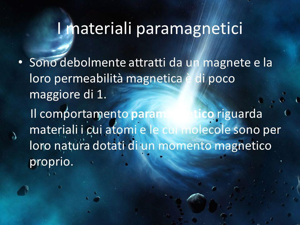 I materiali paramagnetici Sono debolmente attratti da un magnete e la loro permeabilità magnetica è di poco maggiore di 1. Il comportamento paramagnet