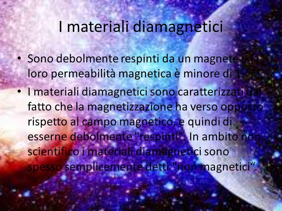 I materiali diamagnetici Sono debolmente respinti da un magnete e la loro permeabilità magnetica è minore di 1. I materiali diamagnetici sono caratter