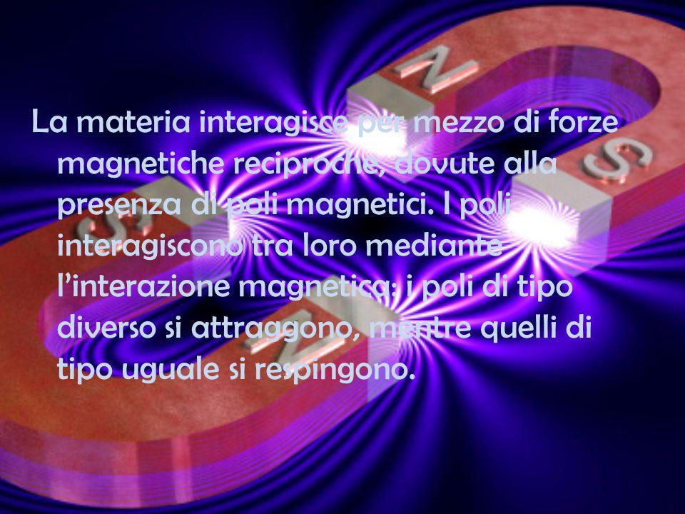 La materia interagisce per mezzo di forze magnetiche reciproche, dovute alla presenza di poli magnetici. I poli interagiscono tra loro mediante l'inte