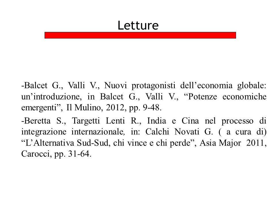 Letture -Balcet G., Valli V., Nuovi protagonisti dell'economia globale: un'introduzione, in Balcet G., Valli V., Potenze economiche emergenti , Il Mulino, 2012, pp.