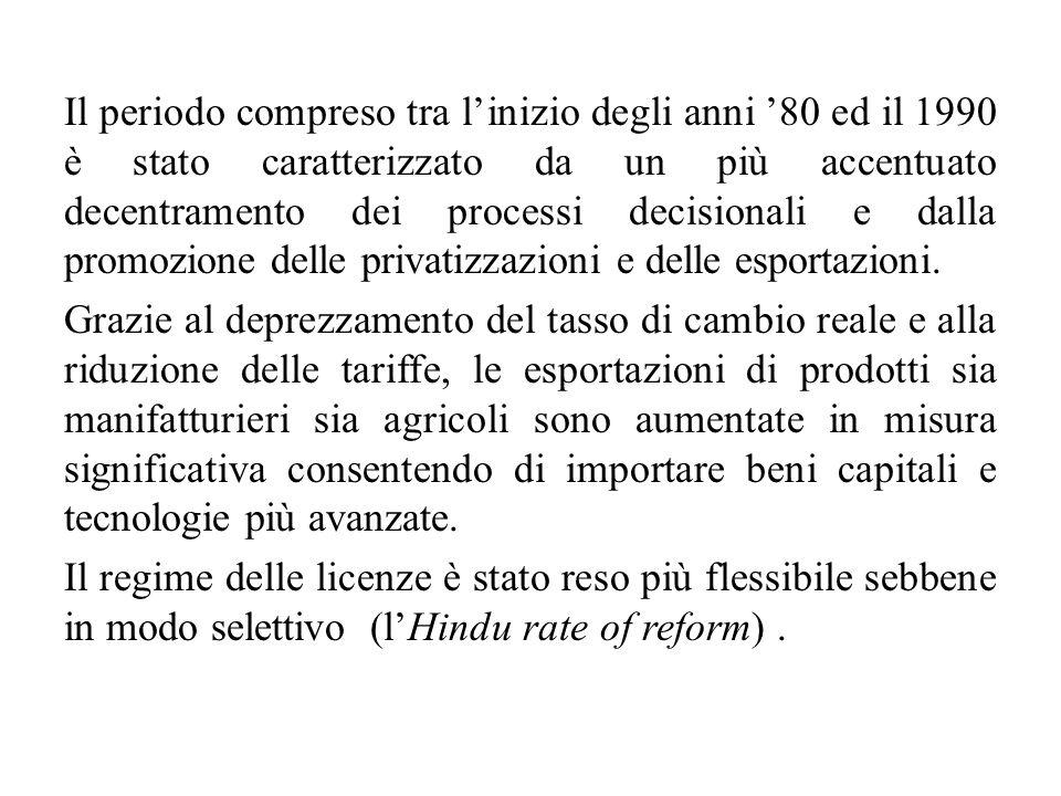 Il periodo compreso tra l'inizio degli anni '80 ed il 1990 è stato caratterizzato da un più accentuato decentramento dei processi decisionali e dalla promozione delle privatizzazioni e delle esportazioni.