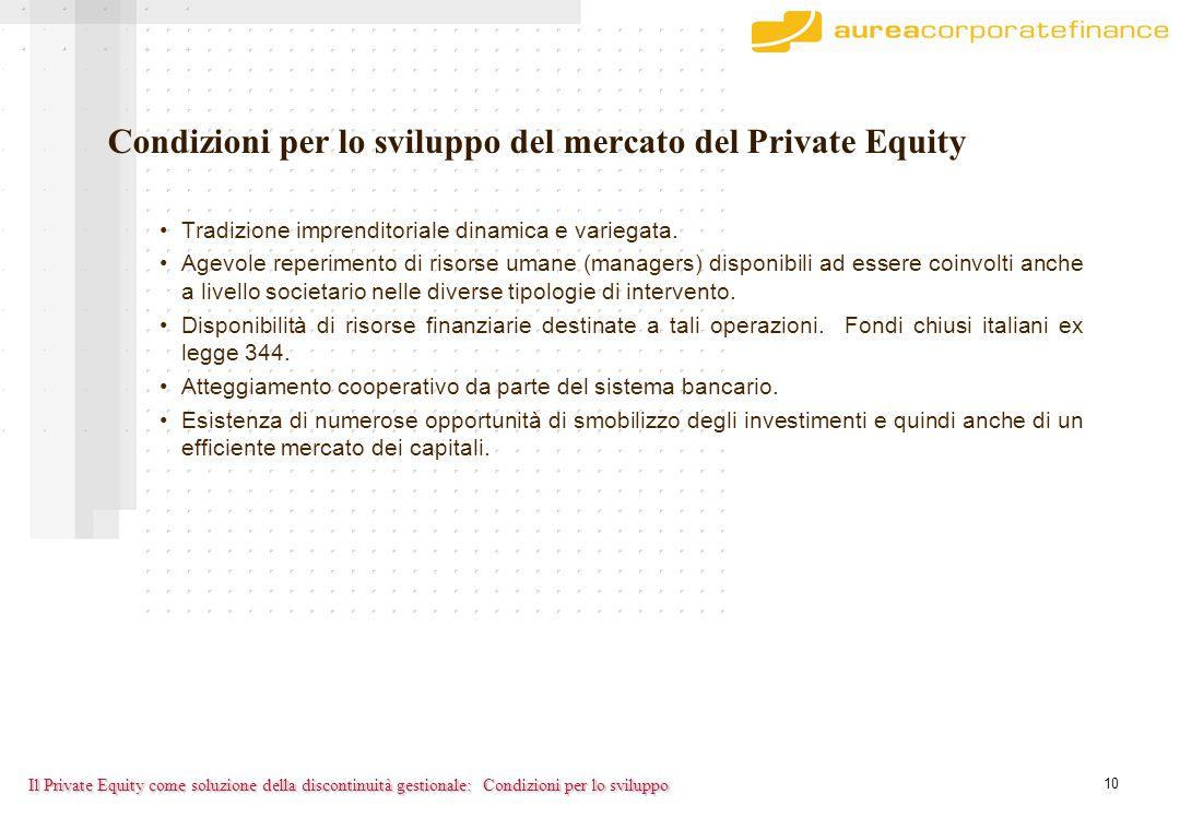 10 Il Private Equity come soluzione della discontinuità gestionale: Condizioni per lo sviluppo del mercato del Private Equity Tradizione imprenditoriale dinamica e variegata.