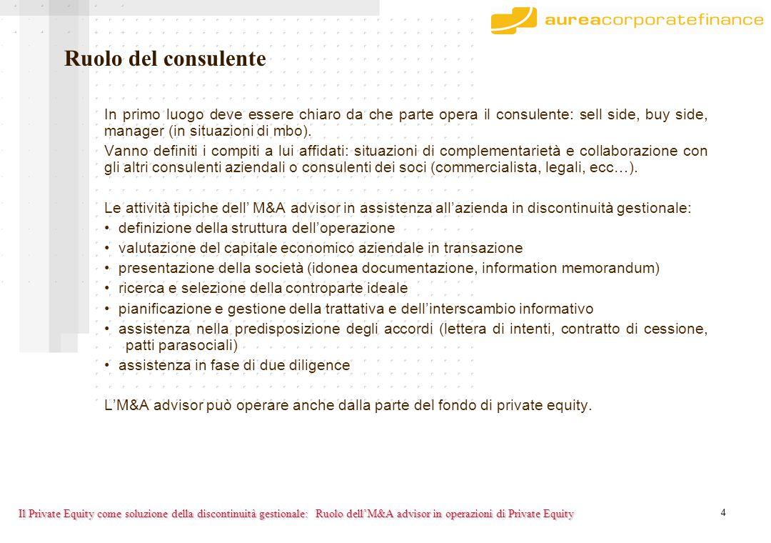 4 Il Private Equity come soluzione della discontinuità gestionale: In primo luogo deve essere chiaro da che parte opera il consulente: sell side, buy side, manager (in situazioni di mbo).