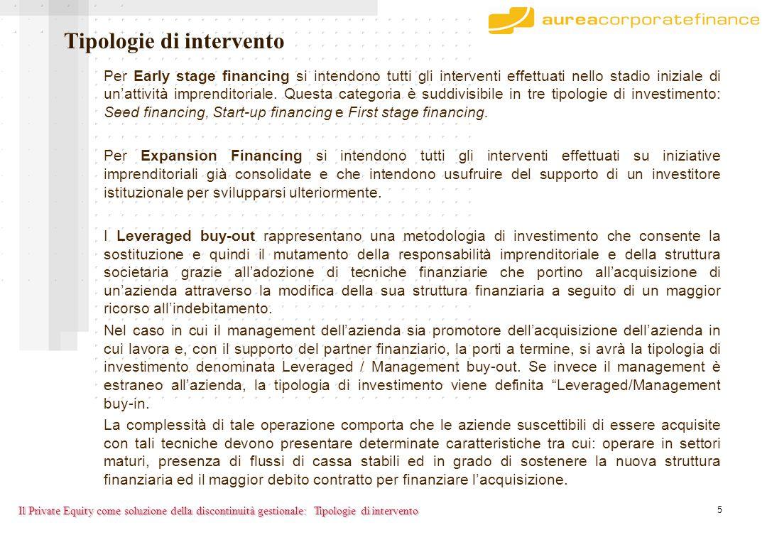5 Il Private Equity come soluzione della discontinuità gestionale: Per Early stage financing si intendono tutti gli interventi effettuati nello stadio iniziale di un'attività imprenditoriale.