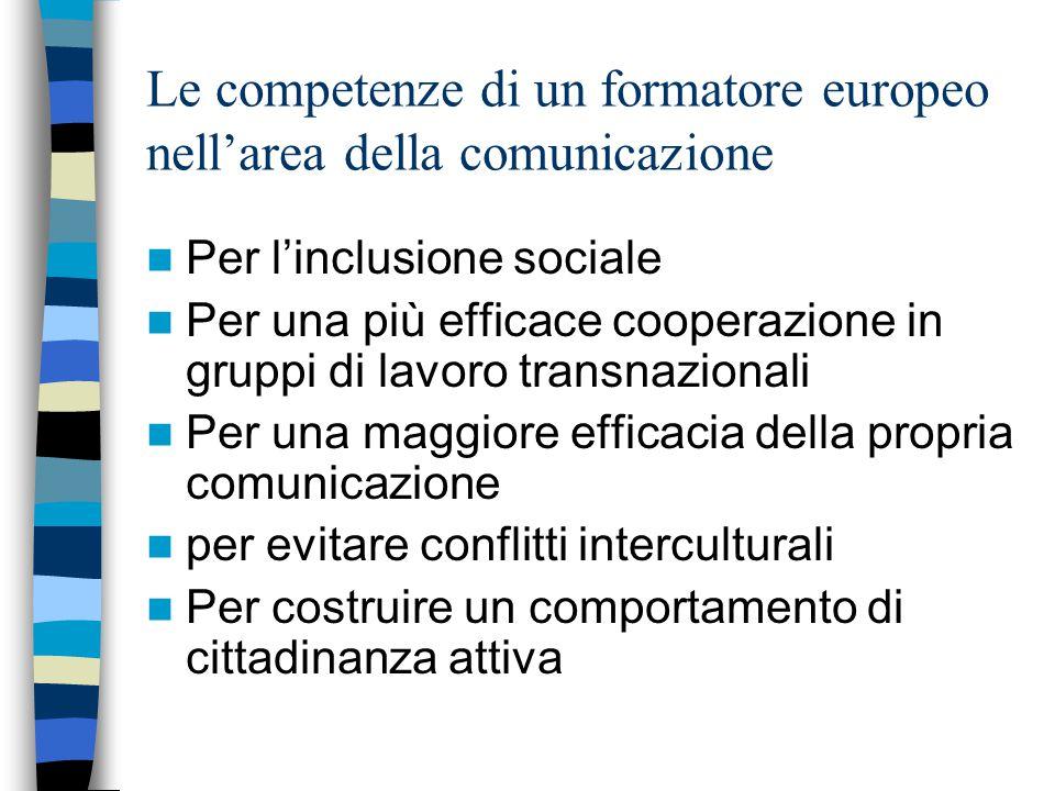 Le competenze di un formatore europeo nell'area della comunicazione Per l'inclusione sociale Per una più efficace cooperazione in gruppi di lavoro transnazionali Per una maggiore efficacia della propria comunicazione per evitare conflitti interculturali Per costruire un comportamento di cittadinanza attiva