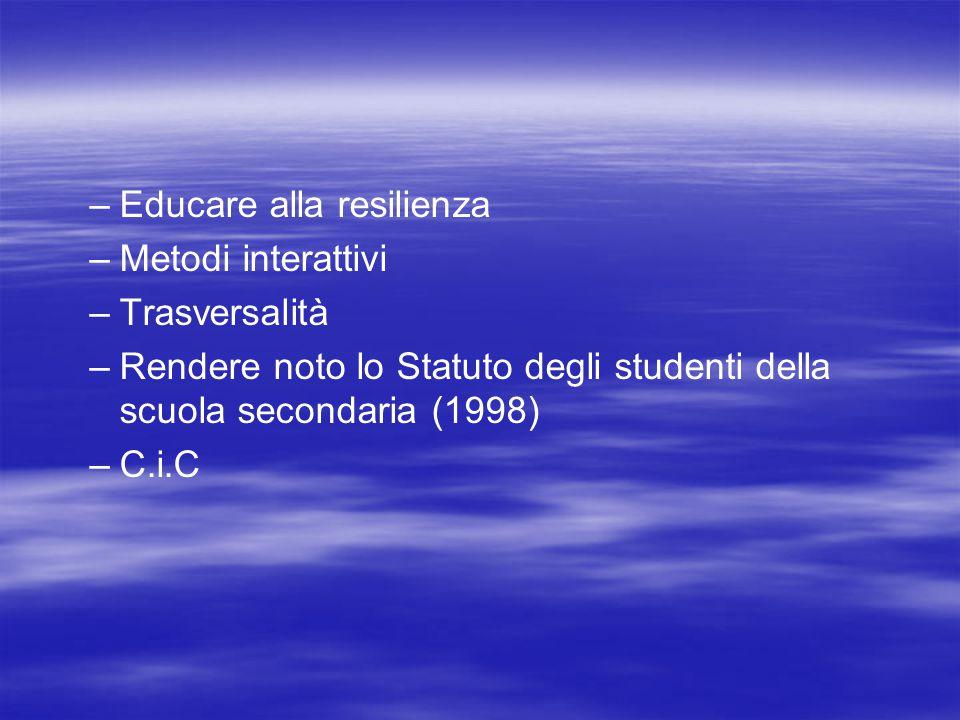 – –Educare alla resilienza – –Metodi interattivi – –Trasversalità – –Rendere noto lo Statuto degli studenti della scuola secondaria (1998) – –C.i.C