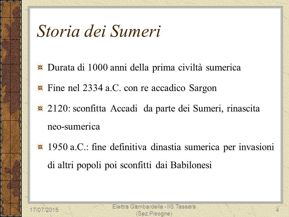 Storia dei Sumeri Durata di 1000 anni della prima civiltà sumerica Fine nel 2334 a.C. con re accadico Sargon 2120: sconfitta Accadi da parte dei Sumer