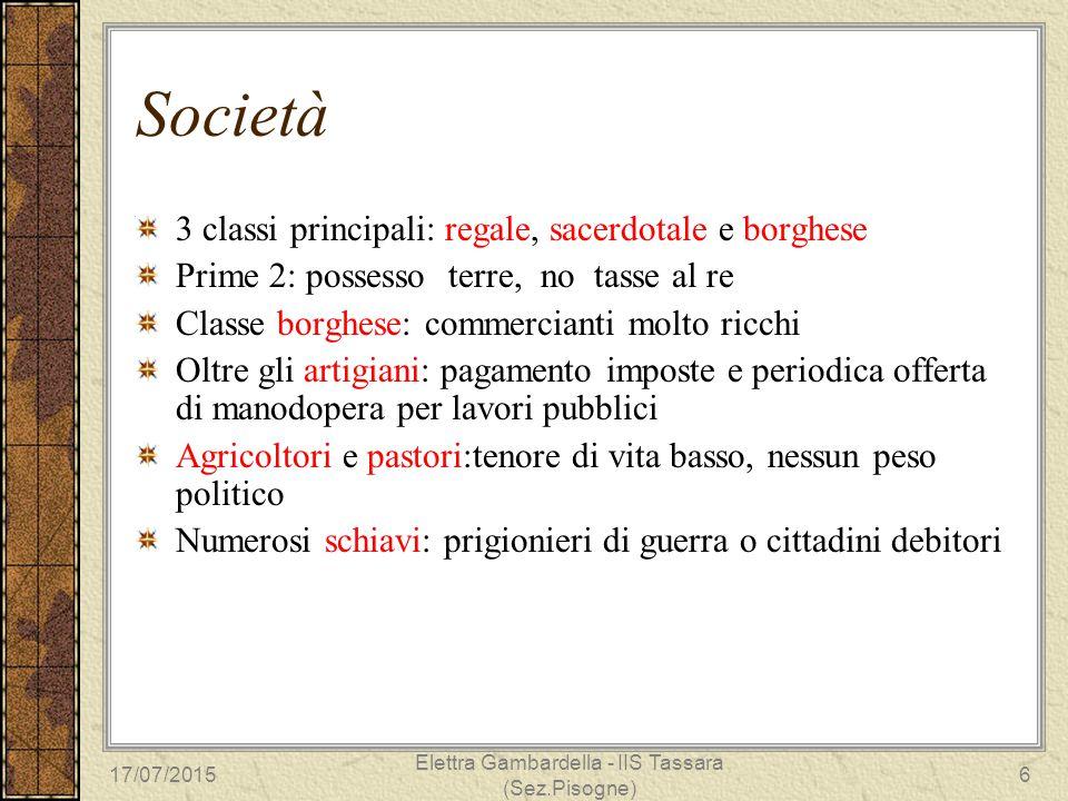 Società 3 classi principali: regale, sacerdotale e borghese Prime 2: possesso terre, no tasse al re Classe borghese: commercianti molto ricchi Oltre g