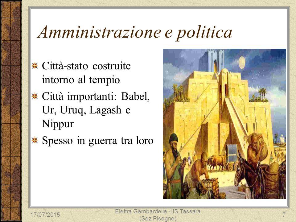Amministrazione e politica Città-stato costruite intorno al tempio Città importanti: Babel, Ur, Uruq, Lagash e Nippur Spesso in guerra tra loro 17/07/