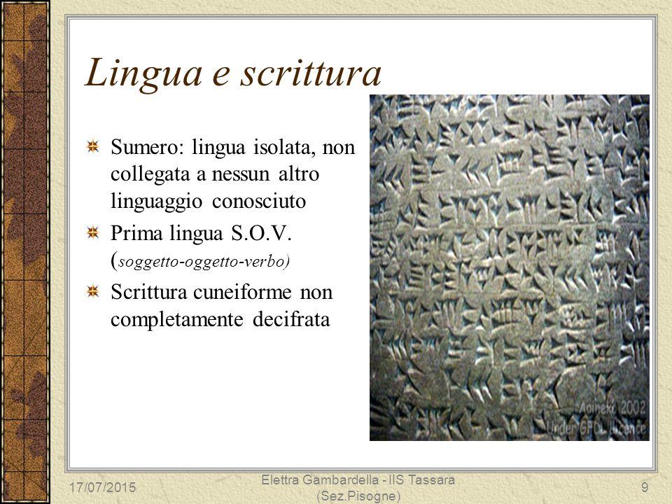 Lingua e scrittura Sumero: lingua isolata, non collegata a nessun altro linguaggio conosciuto Prima lingua S.O.V. ( soggetto-oggetto-verbo) Scrittura