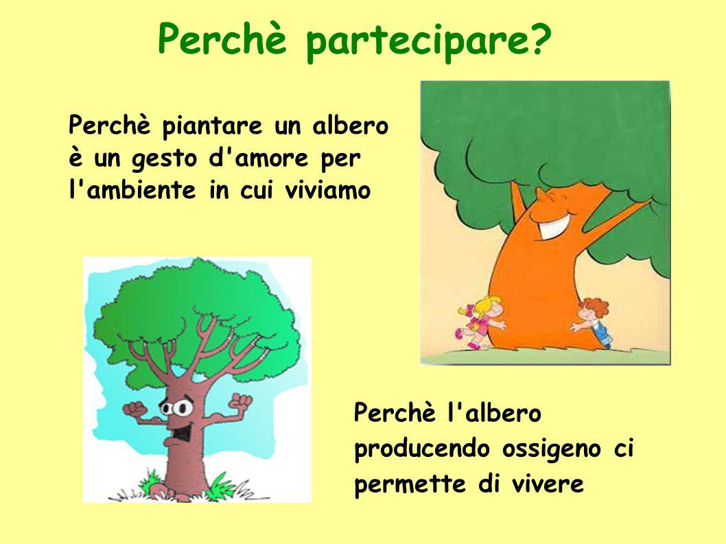 Perchè partecipare? Perchè piantare un albero è un gesto d'amore per l'ambiente in cui viviamo Perchè l'albero producendo ossigeno ci permette di vive