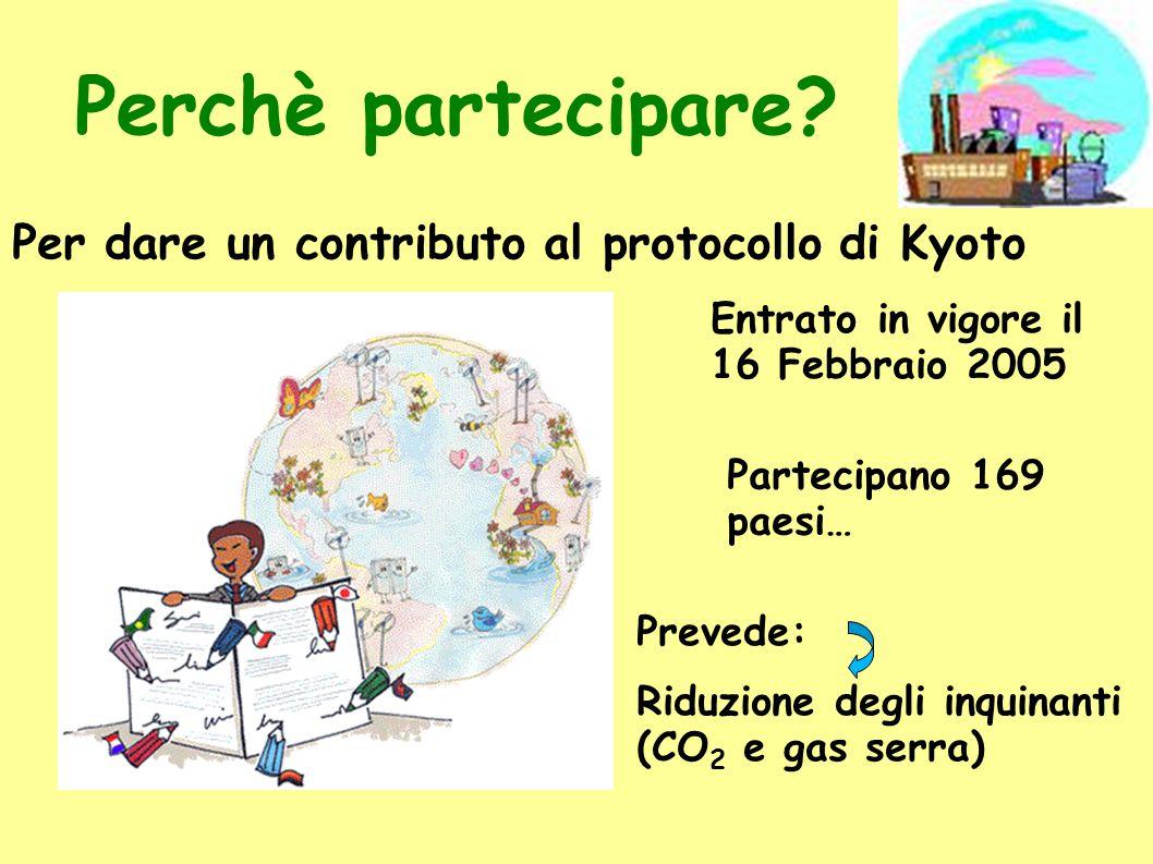 Perchè partecipare? Per dare un contributo al protocollo di Kyoto Partecipano 169 paesi… Entrato in vigore il 16 Febbraio 2005 Prevede: Riduzione degl