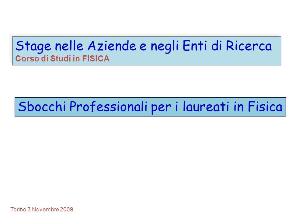 Stage nelle Aziende e negli Enti di Ricerca Corso di Studi in FISICA Stage nelle Aziende e negli Enti di Ricerca Corso di Studi in FISICA Torino 3 Nov