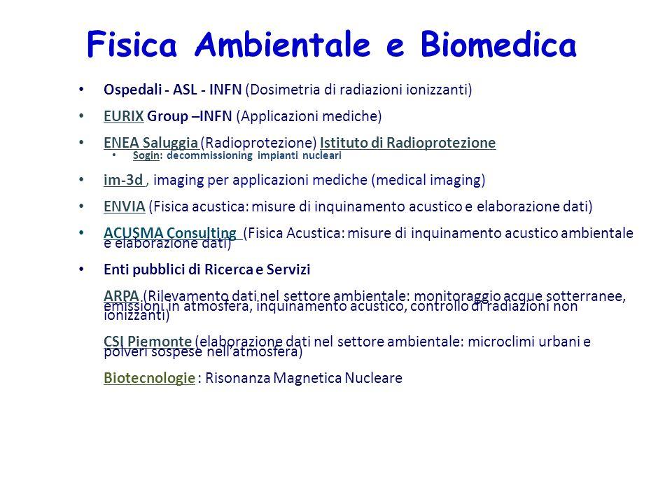 Fisica Ambientale e Biomedica Ospedali - ASL - INFN (Dosimetria di radiazioni ionizzanti) EURIX Group –INFN (Applicazioni mediche) ENEA Saluggia (Radi