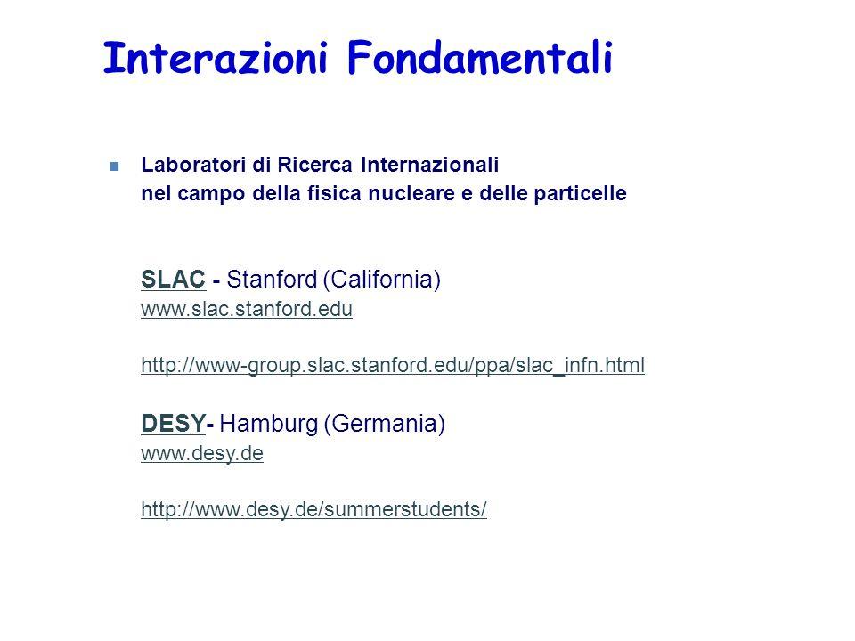 Interazioni Fondamentali n Laboratori di Ricerca Internazionali nel campo della fisica nucleare e delle particelle SLAC - Stanford (California) www.sl