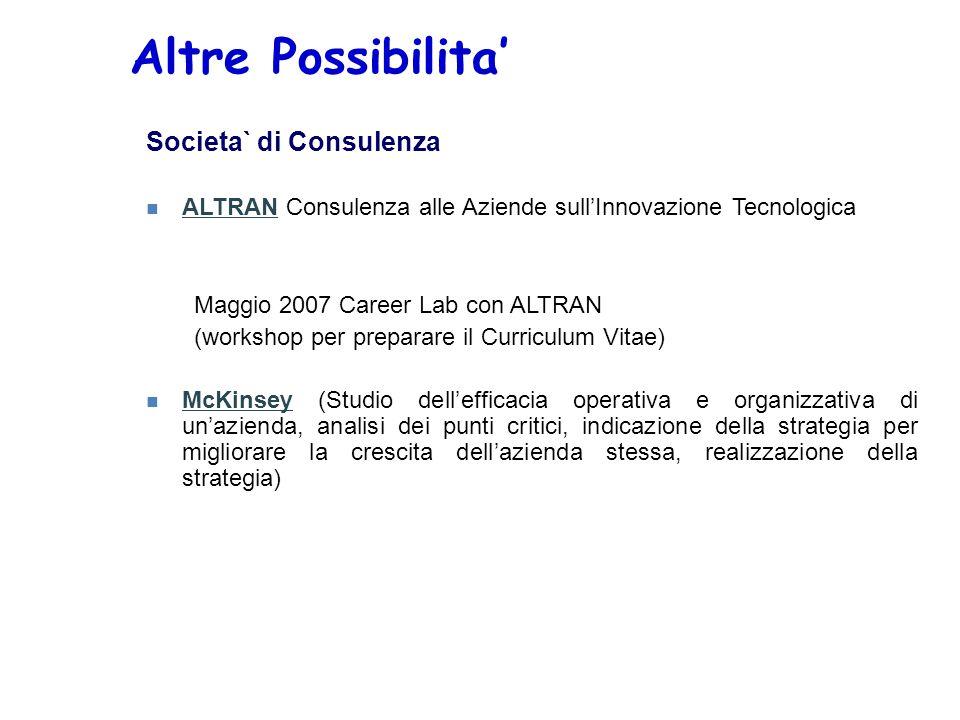 Altre Possibilita' Societa` di Consulenza n ALTRAN Consulenza alle Aziende sull'Innovazione Tecnologica Maggio 2007 Career Lab con ALTRAN (workshop pe