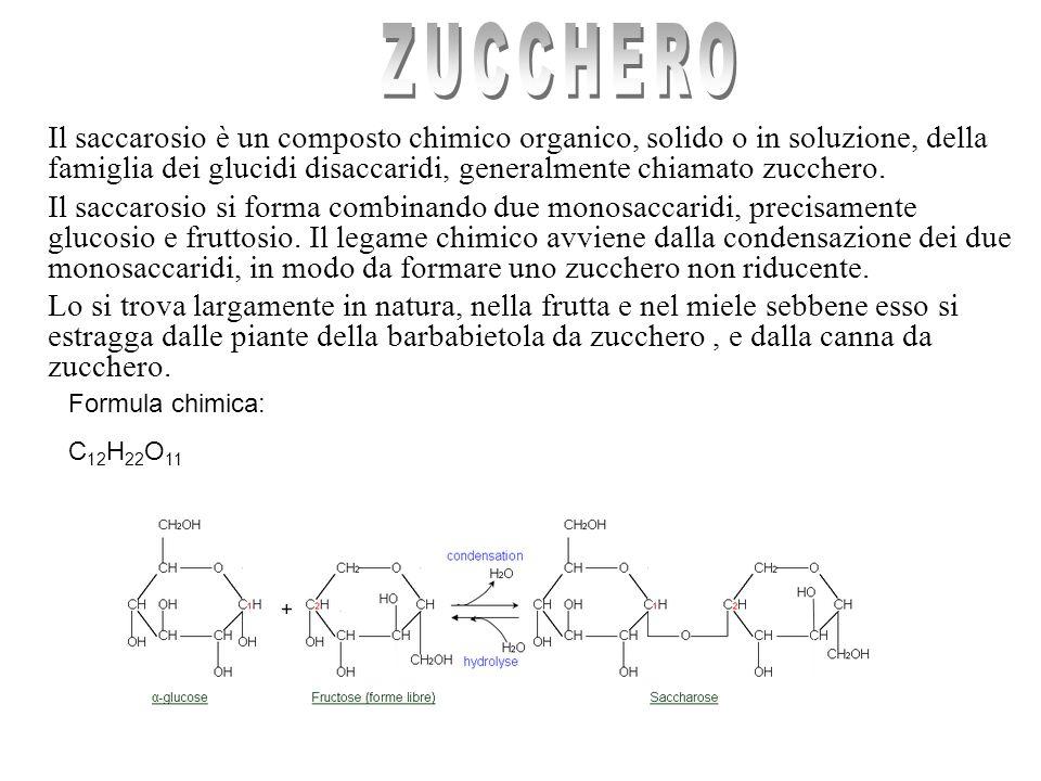Il saccarosio è un composto chimico organico, solido o in soluzione, della famiglia dei glucidi disaccaridi, generalmente chiamato zucchero.