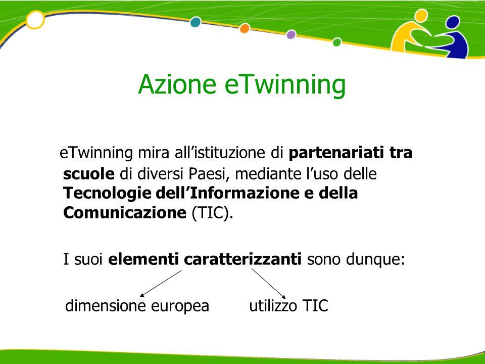 Azione eTwinning eTwinning mira all'istituzione di partenariati tra scuole di diversi Paesi, mediante l'uso delle Tecnologie dell'Informazione e della Comunicazione (TIC).