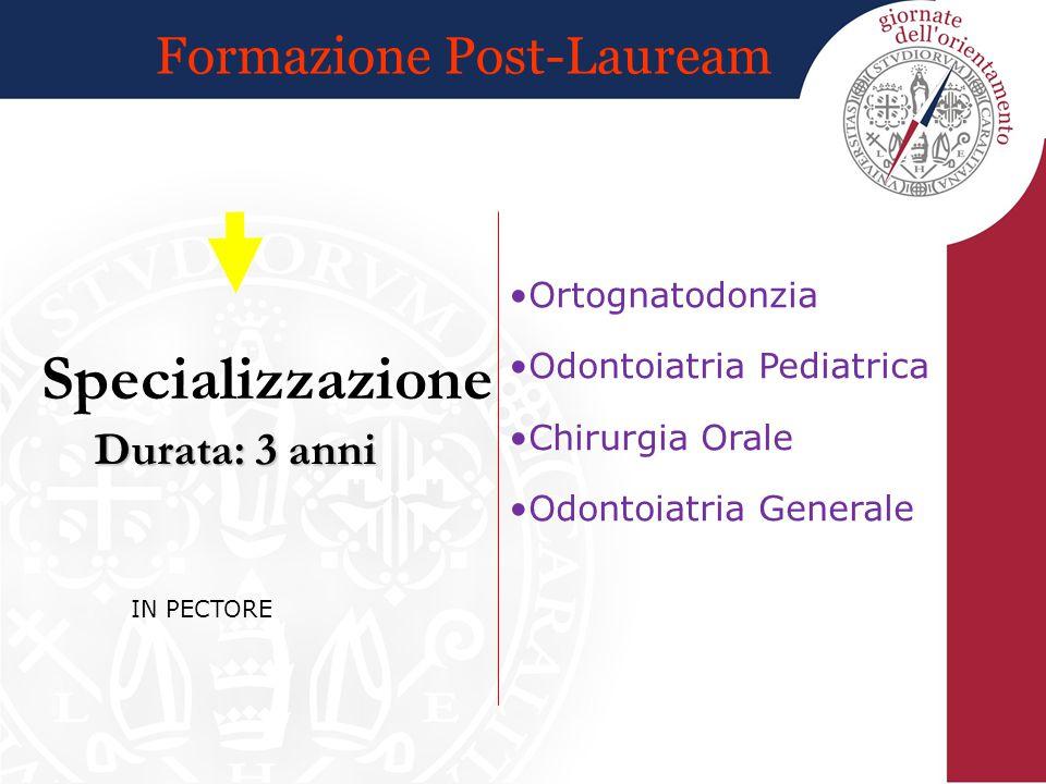 Formazione Post-Lauream Durata: 3 anni Specializzazione Ortognatodonzia Odontoiatria Pediatrica Chirurgia Orale Odontoiatria Generale IN PECTORE