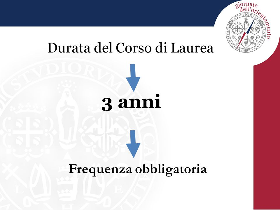 Durata del Corso di Laurea 3 anni Frequenza obbligatoria
