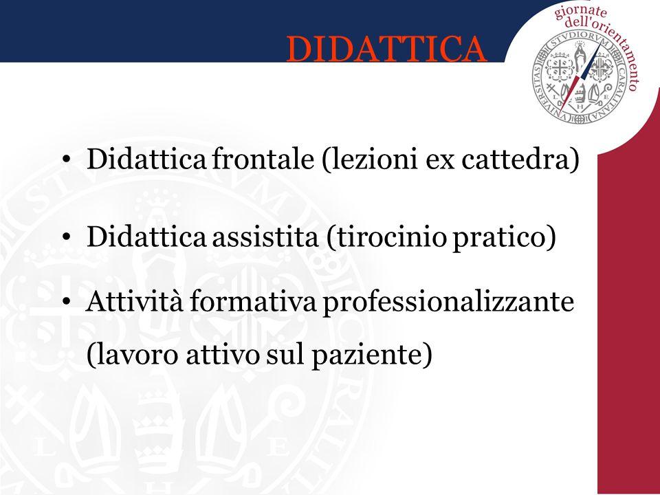 DIDATTICA Didattica frontale (lezioni ex cattedra) Didattica assistita (tirocinio pratico) Attività formativa professionalizzante (lavoro attivo sul p