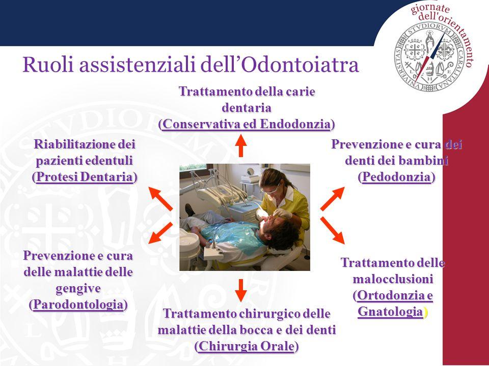 Ruoli assistenziali dell'Odontoiatra Prevenzione e cura dei denti dei bambini (Pedodonzia) Prevenzione e cura delle malattie delle gengive (Parodontol