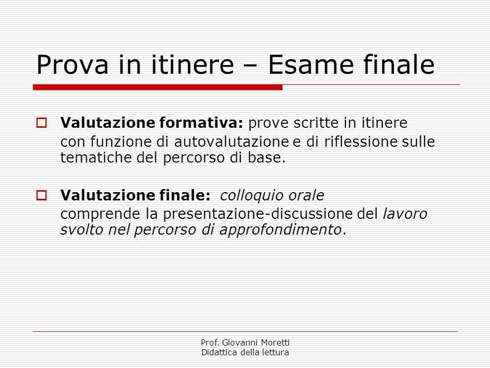 Prof. Giovanni Moretti Didattica della lettura Prova in itinere – Esame finale  Valutazione formativa: prove scritte in itinere con funzione di autov