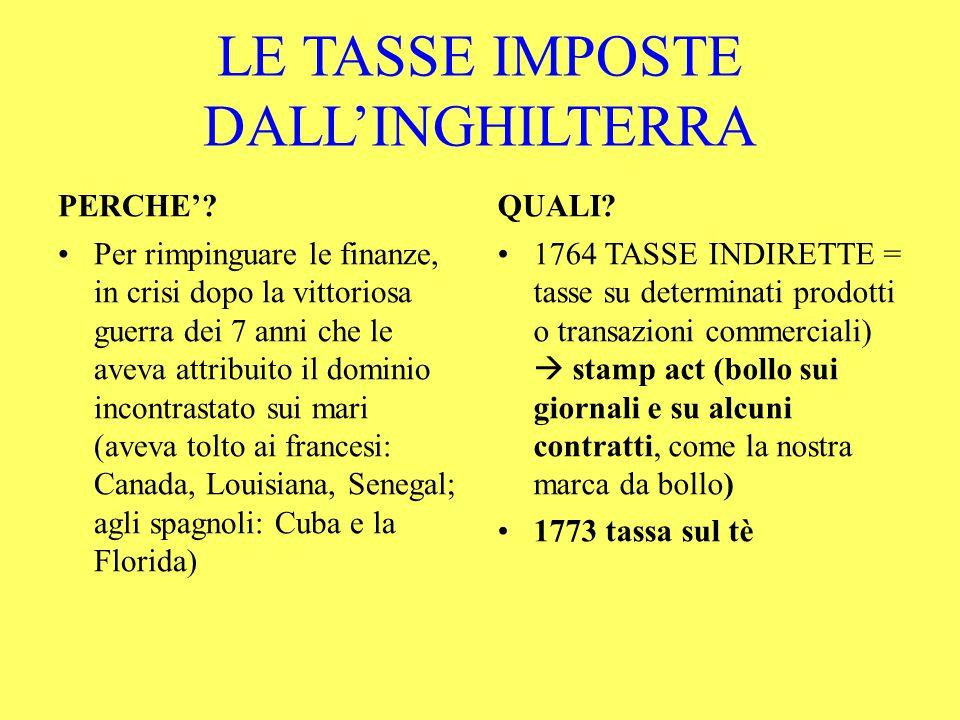 LE TASSE IMPOSTE DALL'INGHILTERRA PERCHE'.