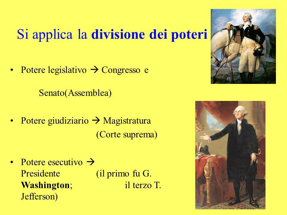 Potere legislativo  Congresso e Senato(Assemblea) Potere giudiziario  Magistratura (Corte suprema) Potere esecutivo  Presidente(il primo fu G.