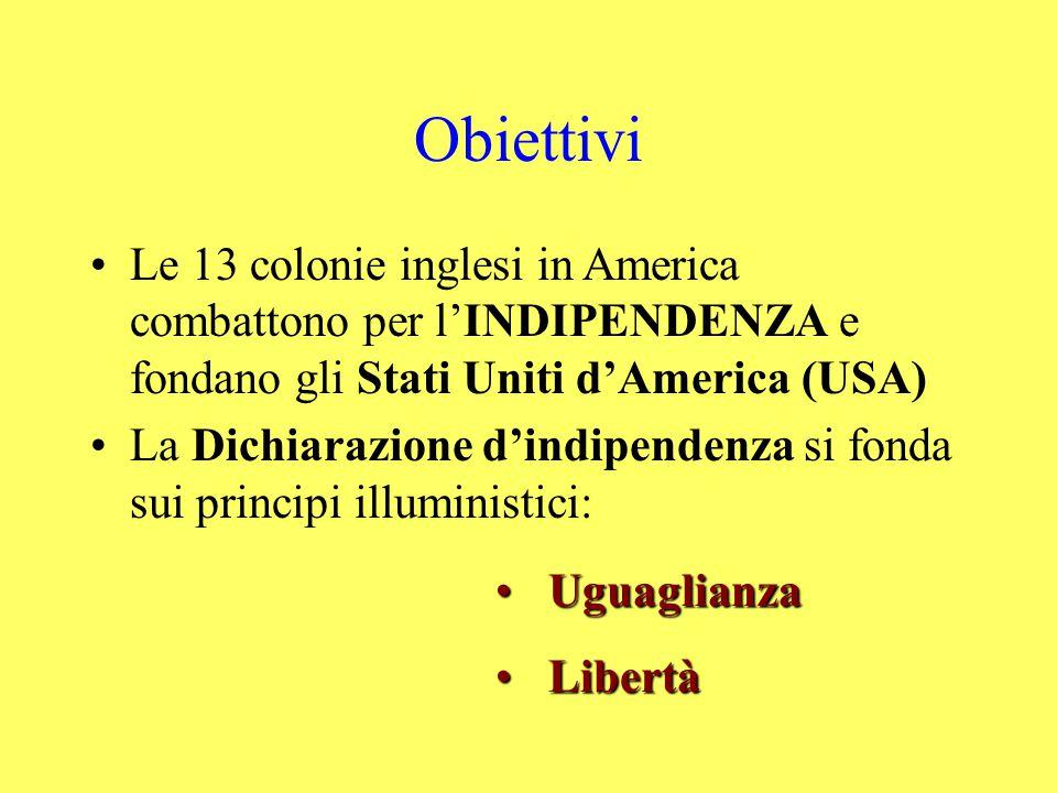 Obiettivi Le 13 colonie inglesi in America combattono per l'INDIPENDENZA e fondano gli Stati Uniti d'America (USA) La Dichiarazione d'indipendenza si fonda sui principi illuministici: UguaglianzaUguaglianza LibertàLibertà