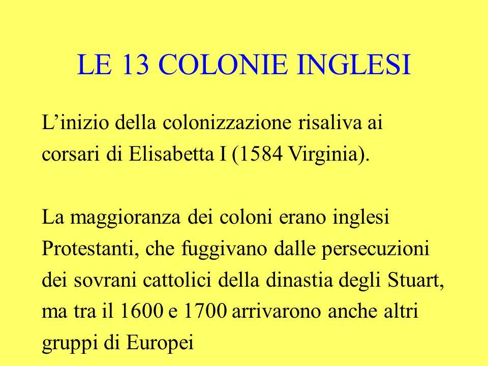 L'inizio della colonizzazione risaliva ai corsari di Elisabetta I (1584 Virginia).
