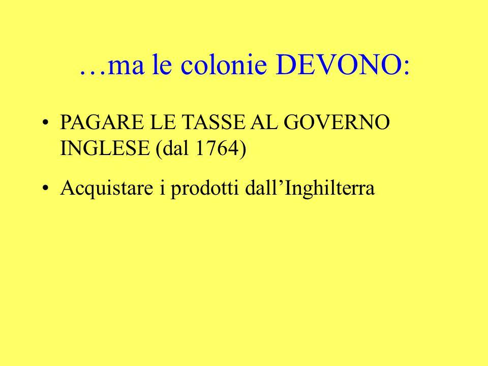 PAGARE LE TASSE AL GOVERNO INGLESE (dal 1764) Acquistare i prodotti dall'Inghilterra …ma le colonie DEVONO: