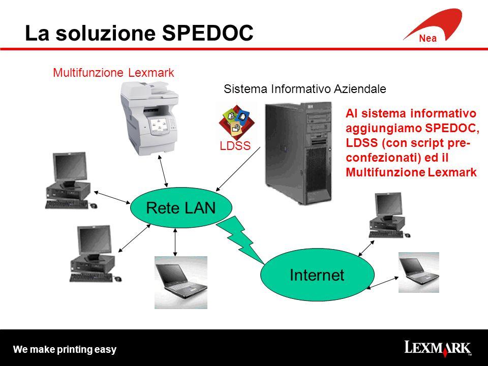 We make printing easy Nea La soluzione SPEDOC Rete LAN Internet Sistema Informativo Aziendale Al sistema informativo aggiungiamo SPEDOC, LDSS (con script pre- confezionati) ed il Multifunzione Lexmark Multifunzione Lexmark LDSS