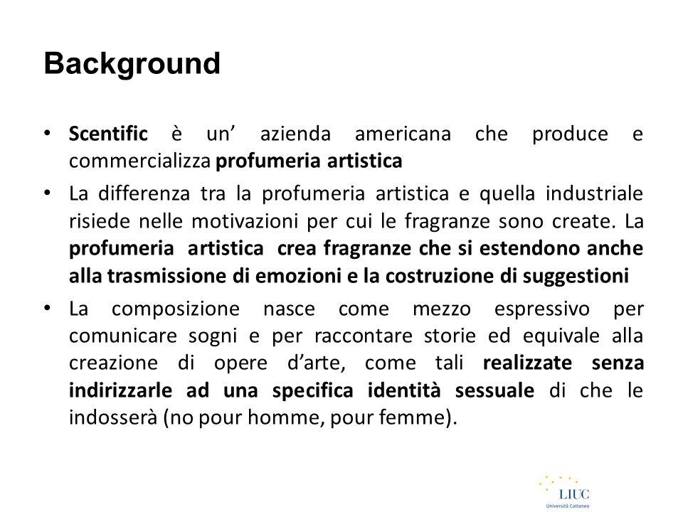 Background Scentific è un' azienda americana che produce e commercializza profumeria artistica La differenza tra la profumeria artistica e quella industriale risiede nelle motivazioni per cui le fragranze sono create.