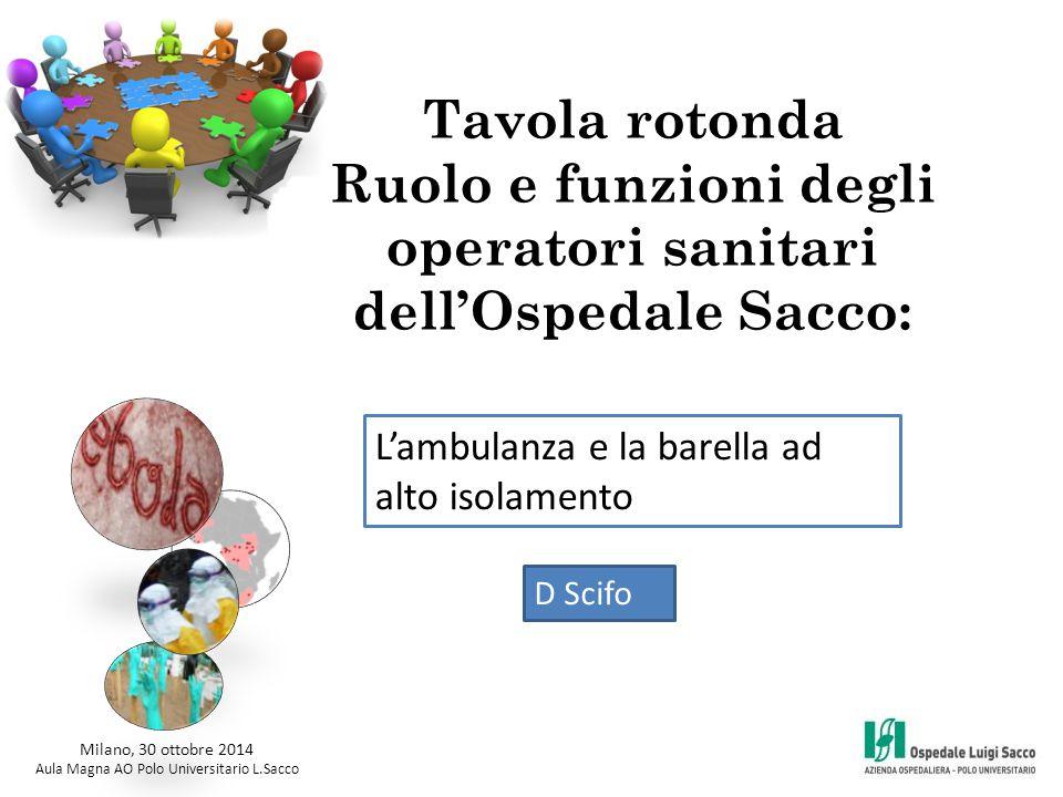 Tavola rotonda Ruolo e funzioni degli operatori sanitari dell'Ospedale Sacco: Milano, 30 ottobre 2014 Aula Magna AO Polo Universitario L.Sacco L'ambul