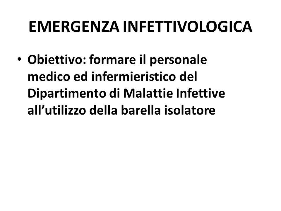 EMERGENZA INFETTIVOLOGICA Obiettivo: formare il personale medico ed infermieristico del Dipartimento di Malattie Infettive all'utilizzo della barella