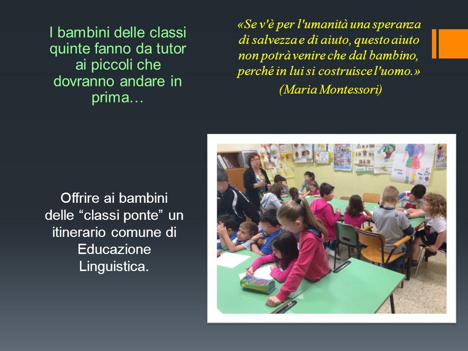 """Offrire ai bambini delle """"classi ponte"""" un itinerario comune di Educazione Linguistica. «Se v'è per l'umanità una speranza di salvezza e di aiuto, que"""