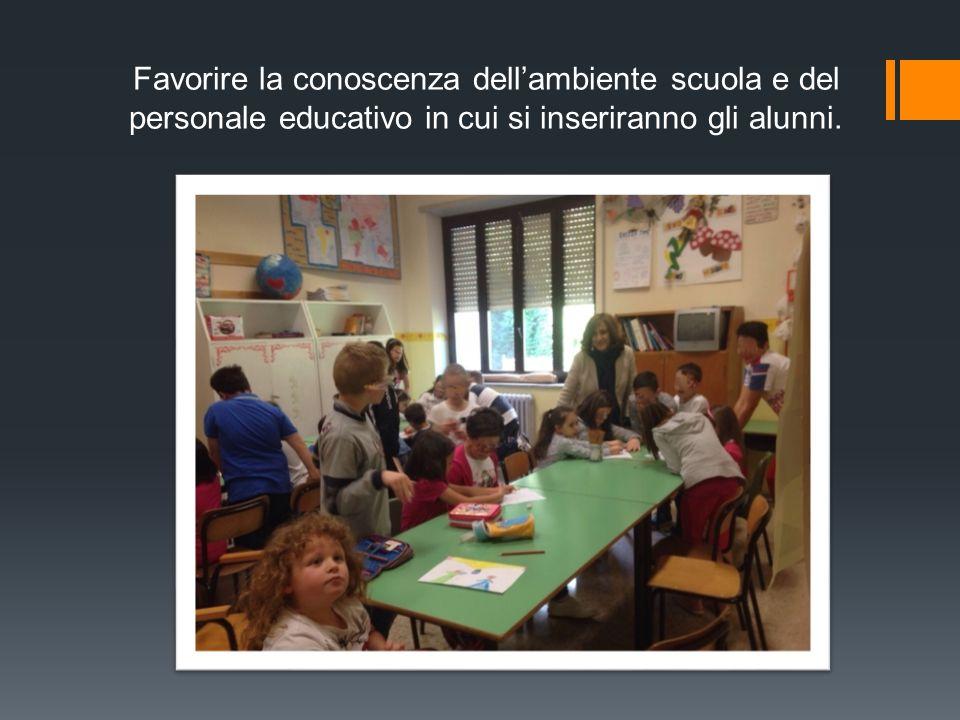 Favorire la conoscenza dell'ambiente scuola e del personale educativo in cui si inseriranno gli alunni.