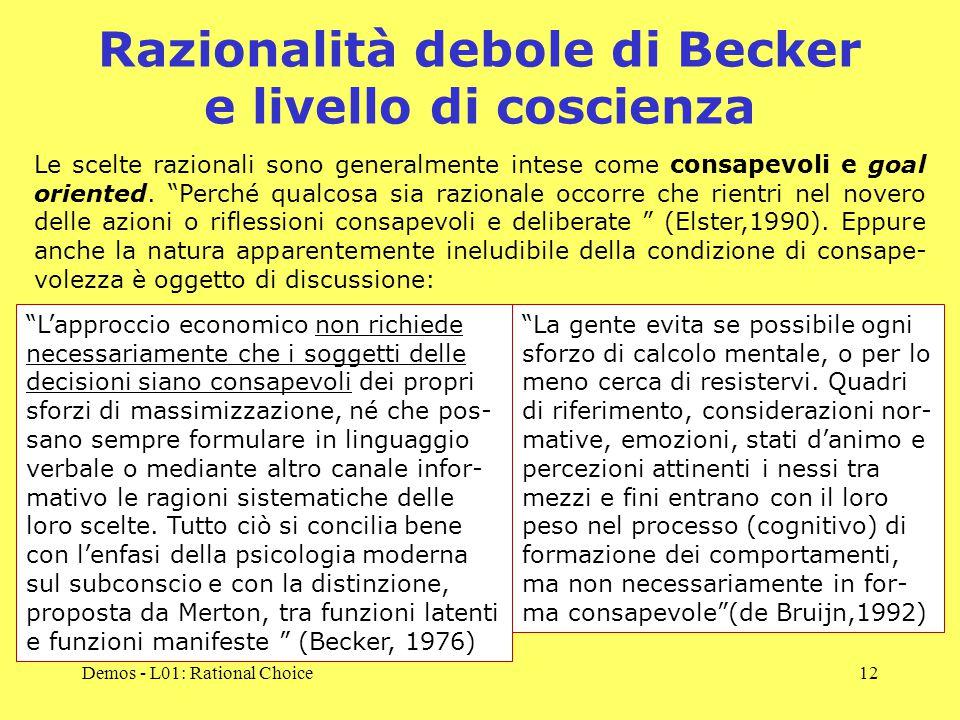 Demos - L01: Rational Choice12 Razionalità debole di Becker e livello di coscienza Le scelte razionali sono generalmente intese come consapevoli e goal oriented.